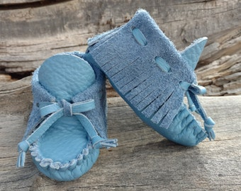 """Baby Moccasins By Desi, Blue Leather 5"""" Long, Girl, Boy, Tribal, Aztec, Ankle Boots, Winter Wear Shoes, Holiday Outfit, Toddler, Regalia"""