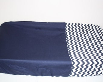 navy blue  chevron changing pad cover