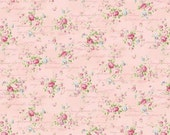 Ruru Bouquet Love Rose Love Cotton Fabric Rose ru2300-15b  Small  Roses on Pink with Script
