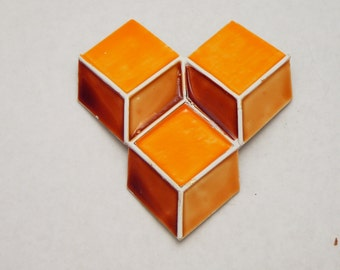 3-D Cube Geometric Pin Orange Capri Vintage Brooch