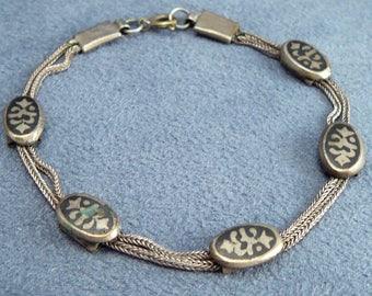 Vintage Niello Enamel 900 Silver Bracelet Turkish Ottoman Style