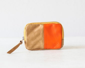 Leather coin purse in light brown and orange, small zipper wallet zipper phone case money bag - The Myrto Zipper pouch