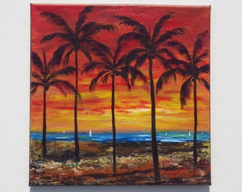Original beach painting, ocean painting of sunset and palm trees, sailboats, 12x12 painting with texture