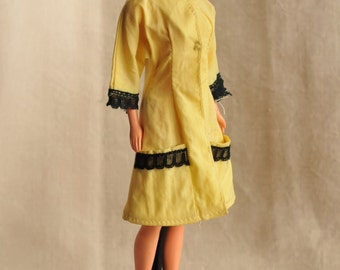Barbie mod pale yellow coat and shoes outfit, 60s clone coat for spring