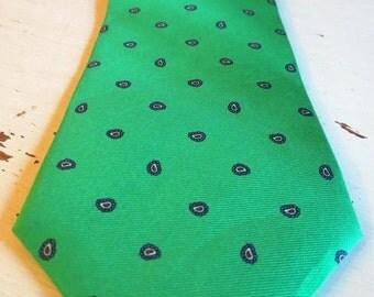 SALE Vintage Neil Martin Kelly Green Paisley Print Silk Necktie
