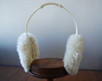 vintage off white faux fur ear muffs  - folding - adjustable - 1960's - Mod Accessory