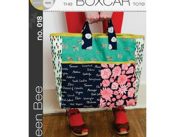 Green Bee Patterns - Boxcar Tote (paper) no. 018
