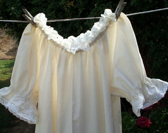 Renaissance Chemise Nightgown Womens XS - XLg Prairie UnderDress with Lace Trim Custom Made