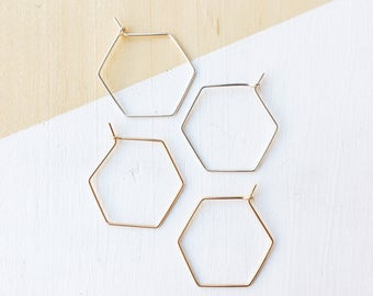 Hexagon Hoop Earrings | Gold Filled | Sterling Silver