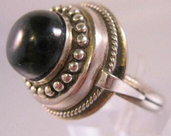 Vintage Alpaca or Nickel Silver Black Dome Ring Size 9