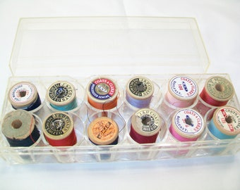 Vintage Traum Thread Box, with vintage wood spools of thread, supplies, sewing
