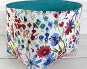 Organizer Basket,Fabric Bin,Storage Bin,Nursery Decor,Fabric Basket Bin,Flowers,Home Decor,Garden,Turquoise,Colorful
