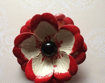 Vintage 40s Large Red White Black Japan Celluloid Hand Painted Floral Brooch