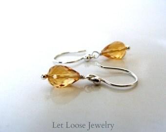 Citrine earrings, tiny genuine gemstone drops, sterling silver, minimalist,  handmade, Let Loose Jewelry, under 20, November birthstone