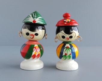 Vintage Japanese Kokeshi Wood Nodders, Set of Two 2 Hand Painted Asian Figurines, Mid-Century Bobbleheads