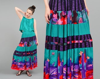 Vintage 90s Southwestern CACTUS Gauze 2 Pc Set Floral Novelty Print Boho Gypsy Full Skirt Crop Top Green Purple Small S