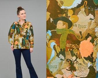 70s Art Nouveau Blouse Impressionist Novelty Print Shirt Long Sleeve Button Up Blouse Moulin Rouge Theater Small Medium S M
