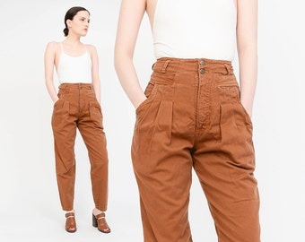 Vintage 80s 90s Rust Brown Pants Pleated Front High Waist Tapered Leg Pants 1980s Cotton Trousers Extra Small XS