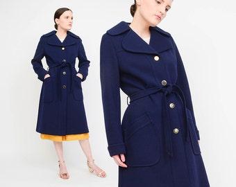 Vintage 60s Navy Blue Coat - Hettemark's Wool Coat - Twiggy Mod Coat - 60s Belted Jacket - Made in Sweden - Small Medium S M