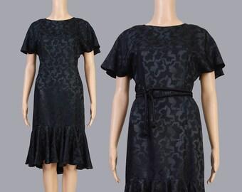 Vintage 80s Black Floral Dress | Silky Jacquard Sheath Dress | Ruffled Knee Length Retro Dress | Minimalist Cocktail Dress | S M - 6 8
