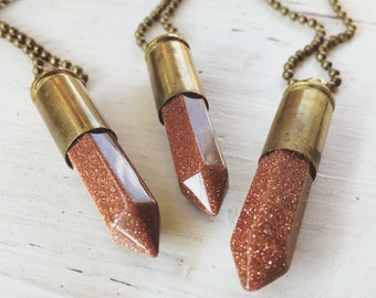 Bullet & Goldstone Necklace - Bullet Casing 9mm with Large Faceted Glittery Gold Stone Point - Unique Necklace - Gemstone Pendant Gift