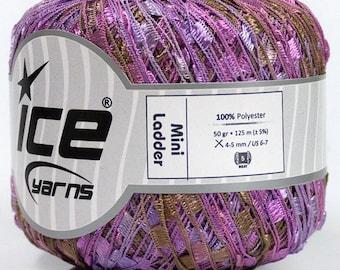 Evening Song Mini Ladder Yarn #47231 Ice Lilac Purples, Browns Ribbon 50gr 136yd