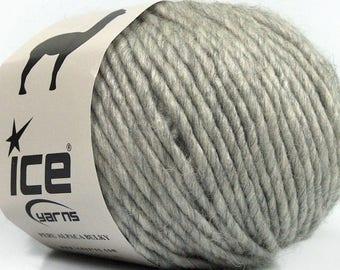 Peru Alpaca Bulky Yarn Light Grey #48697 Ice Merino Wool Alpaca Acrylic 50g 65y