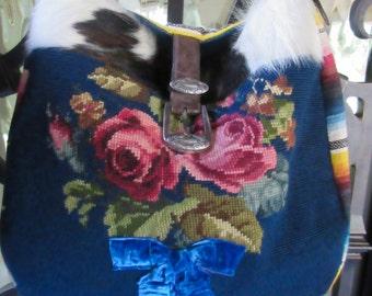 Cowhide, Vintage Needlepoint Roses, Serape, Handbag