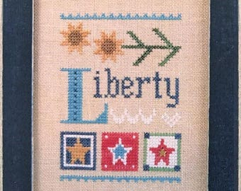 Liberty - Cross Stitch Pattern and Charm by LIZZIE KATE Celebrate with Charm - Flip-It Series - Patriotic - Summer - Sunflower