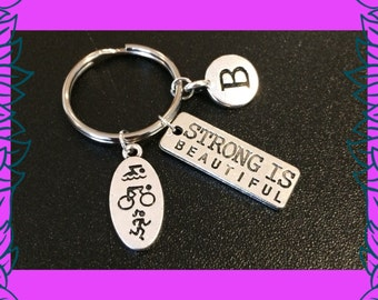 Triathlon gift, triathlete keychain, fitness key ring gift, strong is beautiful charm, bespoke sports fitness gym gift UK