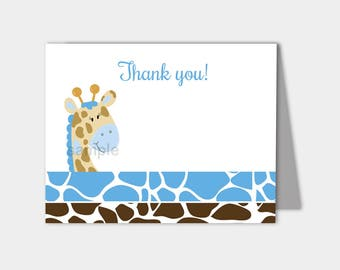 Blue Giraffe Folded Thank you notes INSTANT DOWNLOAD bs-025