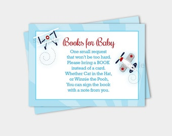 Little Aviator Airplane Transportation Baby Shower Book Request Enclosure Cards INSTANT DOWNLOAD bs-010