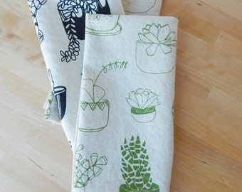 Cloth Napkins, Hand Printed Succulents, Plants, Set of 4 Natural Linen / Cotton Blend