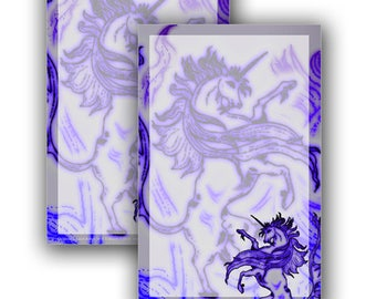 Printable Stationery Digital Download: Heraldic Unicorn Rampant