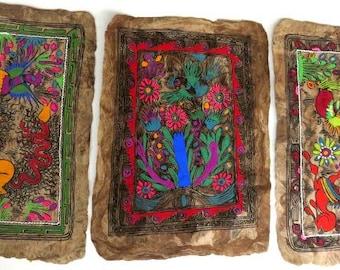 "set of 3 AMATE vintage MEXICAN bark PAINTINGS,folk art,each 10""x15"",birds,plants,flowers,animals,red,green,blue,brown,pink,avocado,purple"