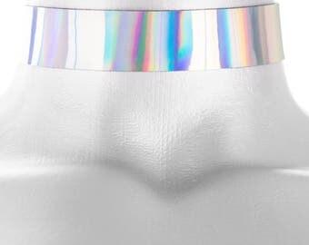 Adjustable Rainbow Hologram Choker 3/4 inch (20mm)