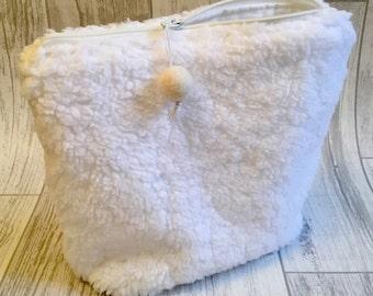 Project bag white fluffy soft pouch zipper bag cute yarn bag crochet knitting project