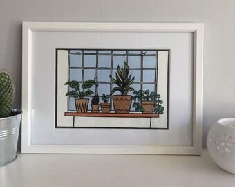 Pot plant papercut - original art