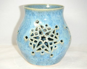 Snow Flake Candle Holder Solstice Luminary Winter Blue