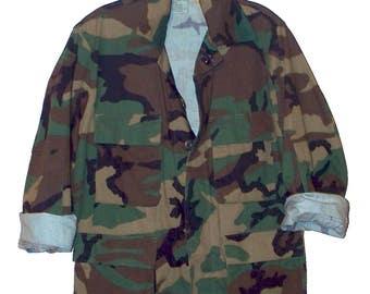vintage 80s/90s woodland pattern camouflage jacket
