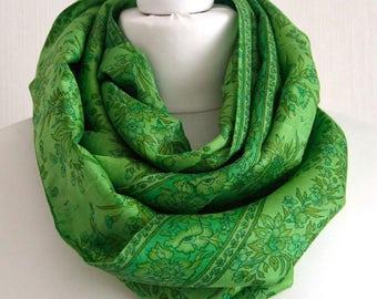 Greenery Floral Recycled Sari Scarf, Silk Sari Infinity Scarf, Upcycled Sari Scarf, Handmade Scarf Indian Silk, Silk Scarves - CMCISE0285