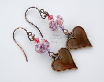 Pink and Purple Heart earrings, confetti earrings, lampwork earrings, copper heart earrings, painted hearts, heart, glass heart earrings