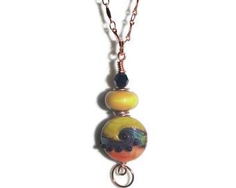 Lampwork and Copper Pendant Lampwork Bead Pendant Copper Chain Colorful Pendant and Chainl