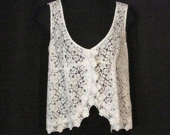 White Lace Top Scalloped Blouse Summer Clothes ML