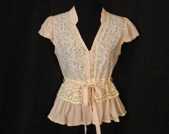 Pink and Cream Lace Peplum Blouse Top Cap Sleeves Lucy & Co. SM