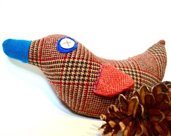 Duckie plush soft toy rattle made from upcycled brown plaid