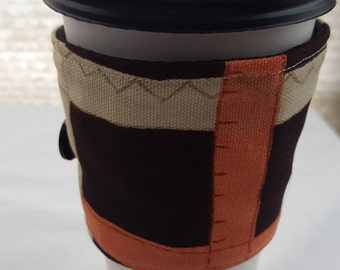 Reusable Coffee Cozie Sleeve Brown Plaid Squares