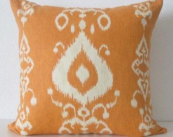 Pillow Cover -  Orange - Ikat - Tribal - Decorative - throw - lumbar - Cushion Cover