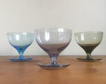 Vintage Trio of Glass Dessert Cups.