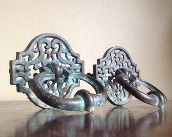 Holiday Sale. Vintage Ornate Metal Drawer Pulls. DIY, Furniture Redo.